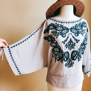 Ark & Co Embroidered Boho Top with Slit Sleeves